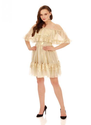 6ixty8ight Bej Büzgülü Laklı Şifon Abiye Elbise Bej